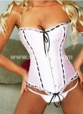 Fashionable Light Pink Corset with Thong