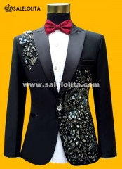 Men Suits ( Jacket + Pants ) Fashion Black Paillette Embroidered Male Singer Slim Performance Party Prom Costume