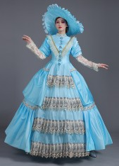 Light Blue Baroque Rococo Southern Belle Dress Renaissance Revolutionary Ball Gown Theater Costume
