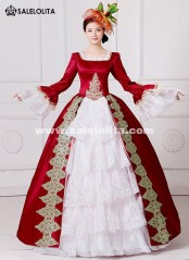 Brand New Red Embroidery Marie Antoinette Dress Civil War Southern Belle Masquerade Ball Gown Reenactment Women Clothing