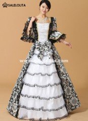Black Floral 17th 18th Century European Court Marie Antoinette Dress Baroque Rococo Ball Gown Victorian Gothic Dress