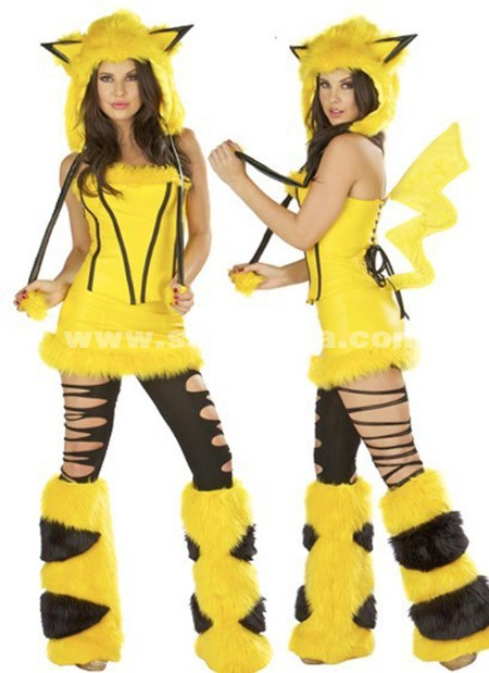 Yellow Pikachu Plush Halloween Animal Costumes
