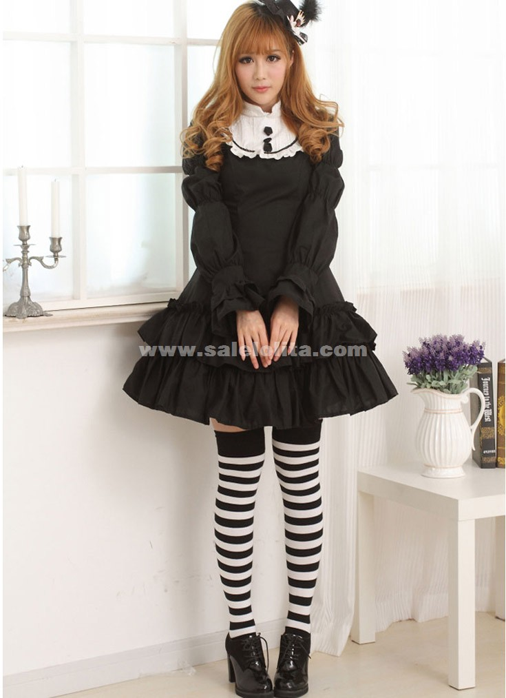 2018 Classic Sweet Black Long Slim Princess Casual Lolita Dress