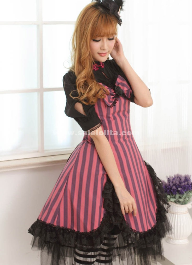 2018 Sweet Princess Black And Red Lace Slim Half Sleeves Casual Lolita Dress For Lady