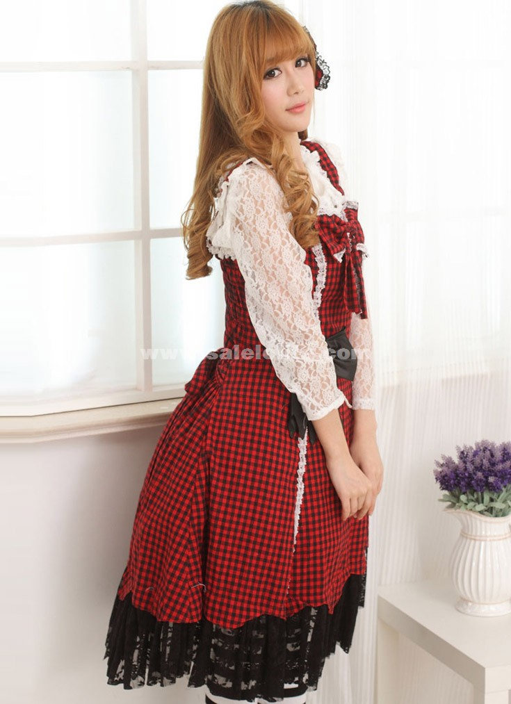 2018 Sweet Princess Black And Red Plaid Sleeveless Slim Lace Bow Casual Lolita Dress