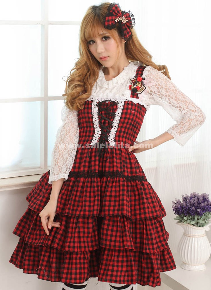 2018 Classic Princess Black And Red Plaid Sleeveless Slim Bow Casual Lolita Dress For Ladies
