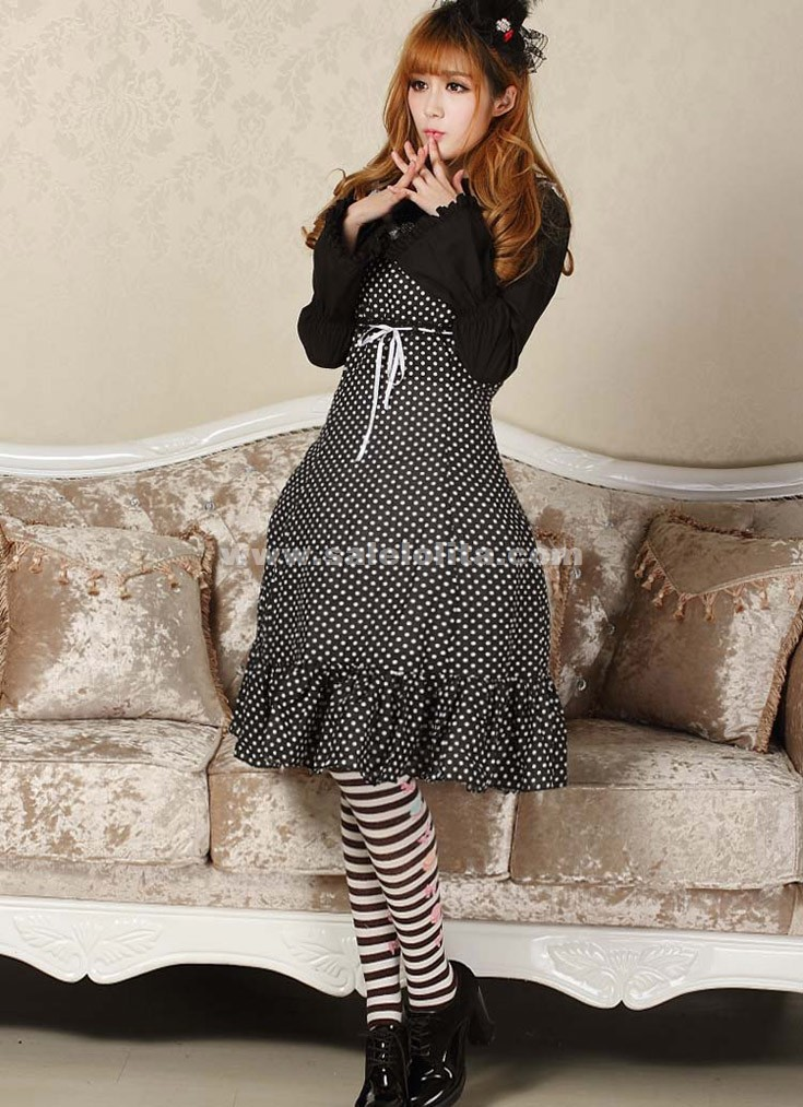 2016 Classic Princess Black And White Dots Noble Sleeveless Casual Lolita Dress For Lady