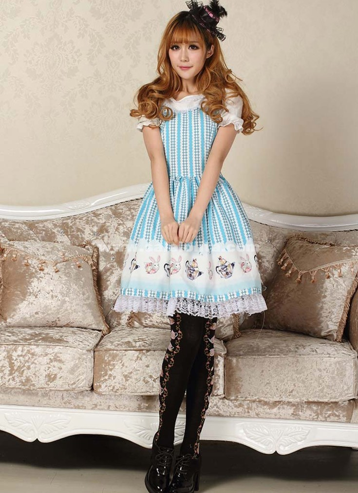 2018 Sweet Princess Blue Alice Short Sleeves Printed Casual Lolita Dress