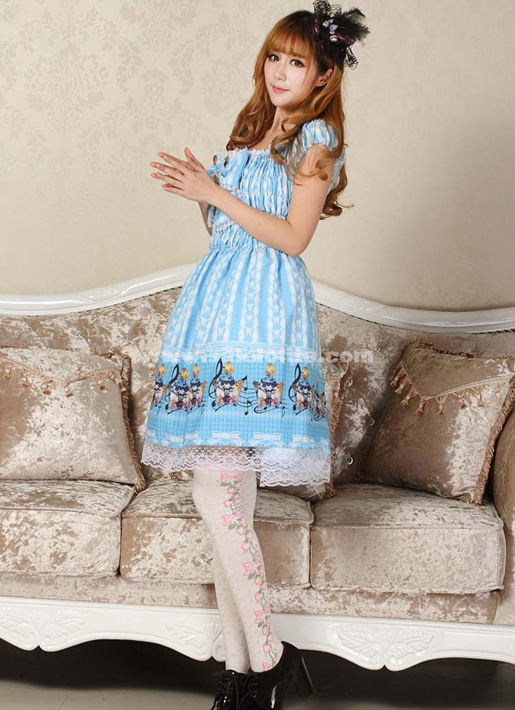 2016 Sweet Princess Blue Alice Short Sleeve Bow Printed Summer Casual Lolita Dress