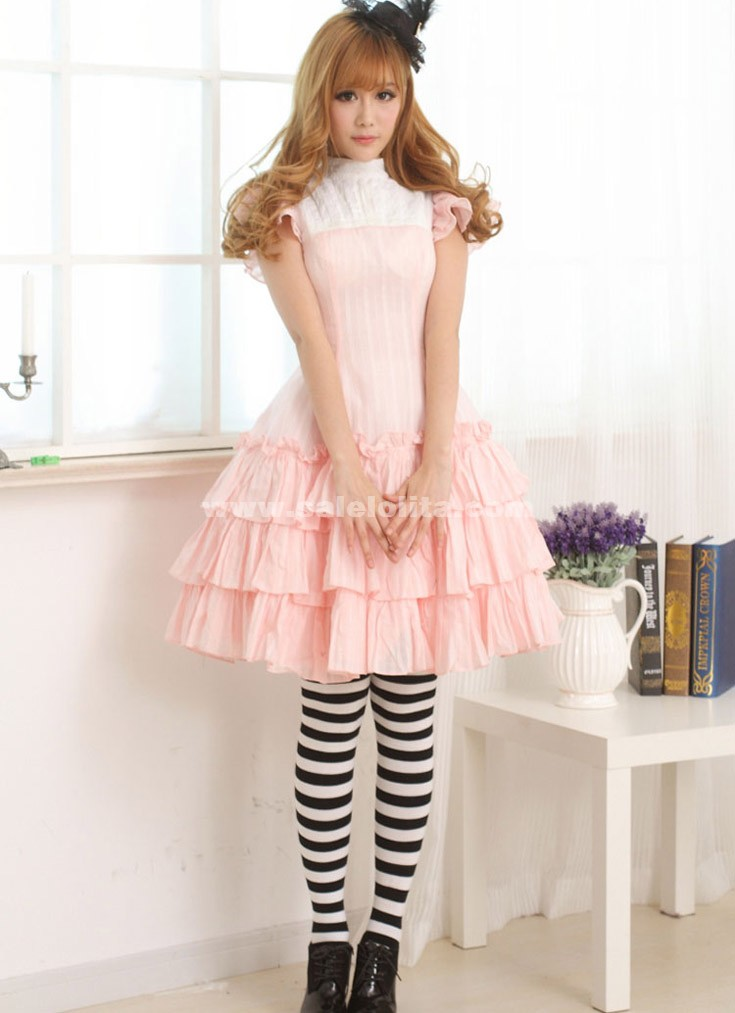 2016 Sweet Princess Pink Short Sleeves Lovely Summer Casual Lolita ...