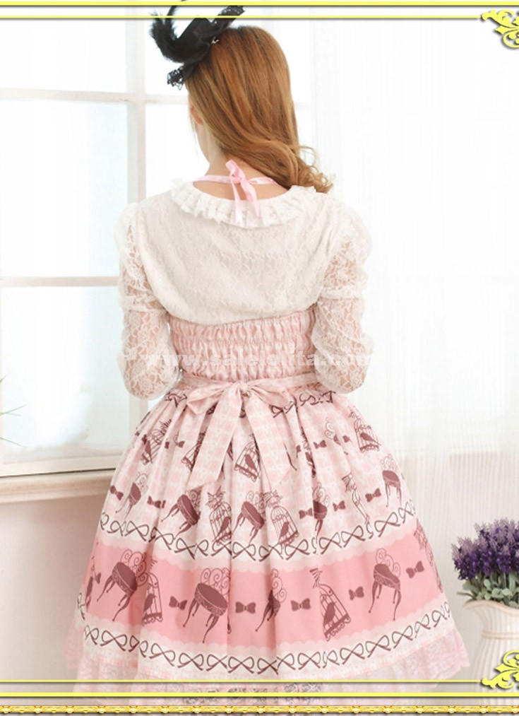 2016 Sweet Princess Pink Strap Sleeves Brid Printed Bow