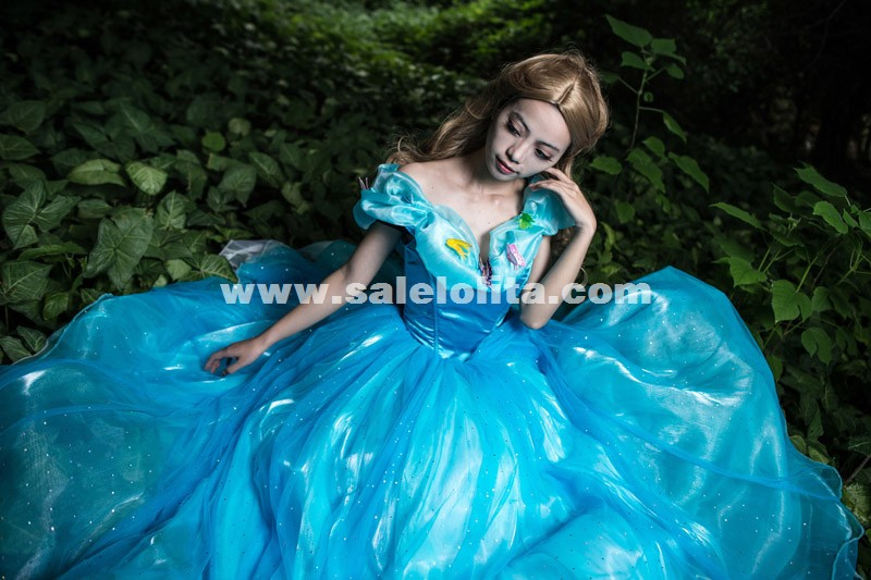 New movie Cinderella Princess 2015 Cinderella dress for adult women blue deluxe Cinderella cosplay costume girl wedding dress