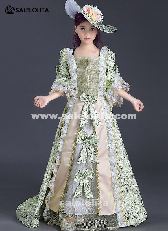 b8ba5cc220f50 Children Green Floral Pattern Lace Marie Antoinette Dress Gown Kids  Medieval Renaissance Reenactment Theater Clothing For girl