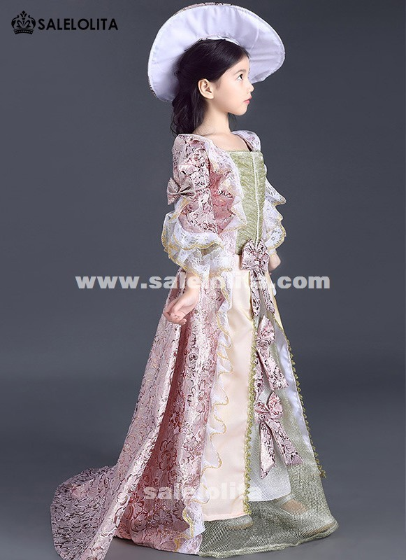 Kids Rose Red Floral Patterns Reenactment Theater Dress Children little Girls Marie Antoinette Renaissance Queen Dress