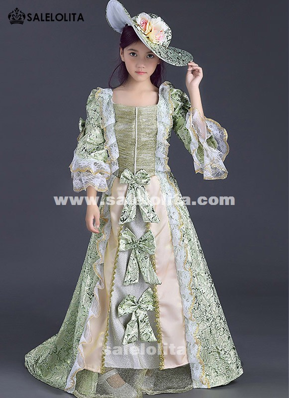 Children Green Floral Pattern Lace Marie Antoinette Dress Gown Kids Medieval Renaissance Reenactment Theater Clothing For girl