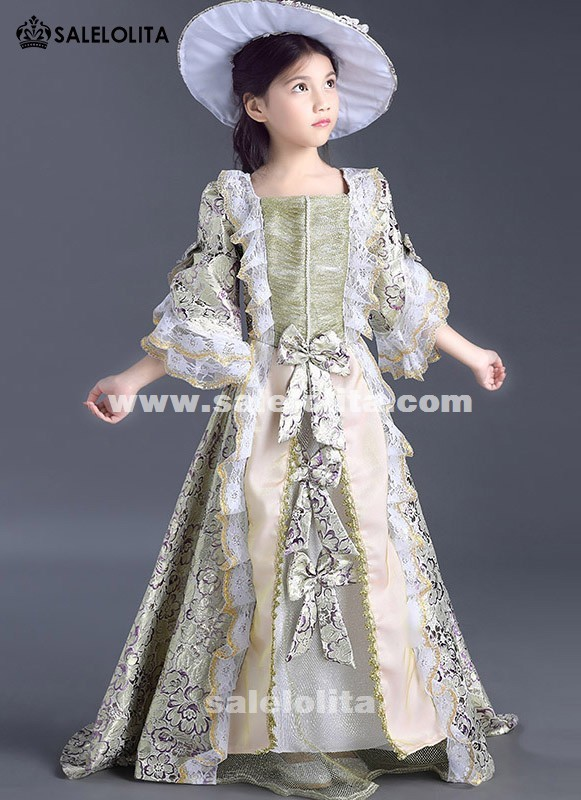 Children Purple Floral Patterns Lace Medieval Victorian Party Dresses little Girls Kids Marie Antoinette Dress