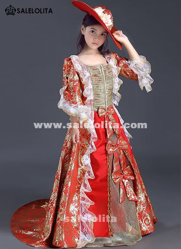 Children Red Printed Patterns Reenactment Theater Clothing Kids Marie Antoinette Queen Princess Lolita Dress For Girl Customized