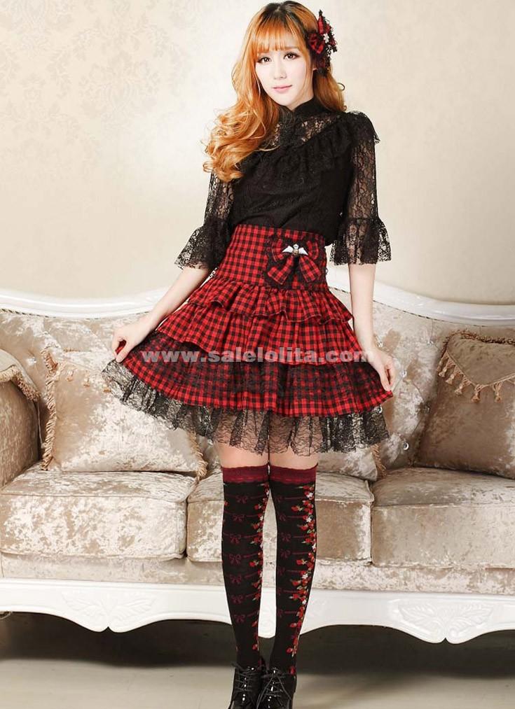 8fb440e28 2018 Gorgeous Punk Red Plaid Lace Bow Ladies High Waist Skirt ...