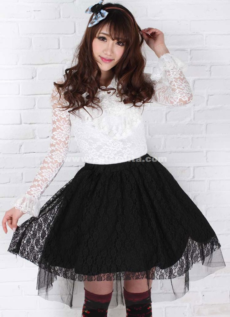 Black Lace Sexy Pleated Skirt