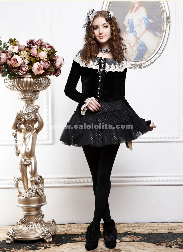 2014 Black Halloween Pumpkins Pattern Pleated Skirt