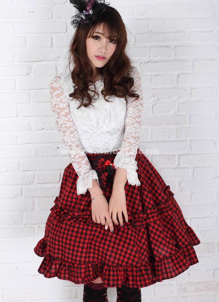 Red Plaid Lace Lolita Pleated Mini Skirt