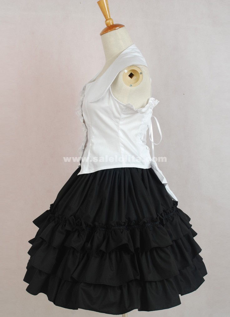 2018 Fashion Princess Wihte And Black Sleeveless Turn-down Collar Bow Casual Bubble Dress