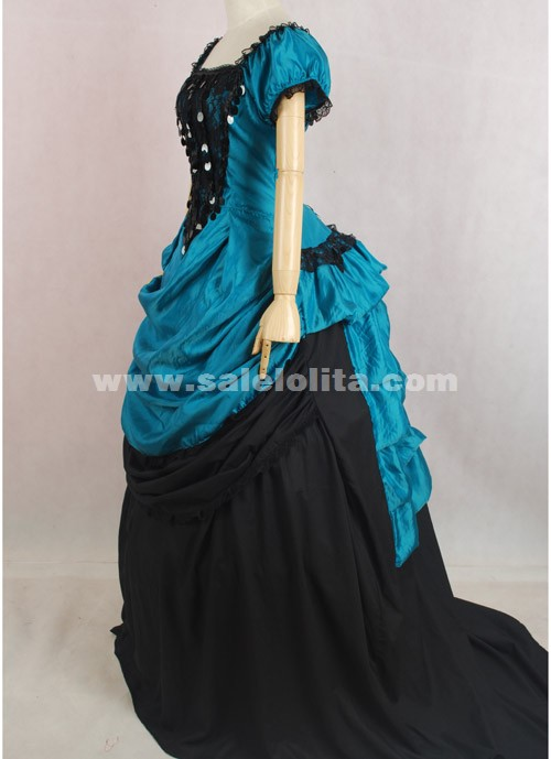 2018 Brand New Noble Green And Black Short Sleeves Square Collar Victorian Bustle Ball Gown