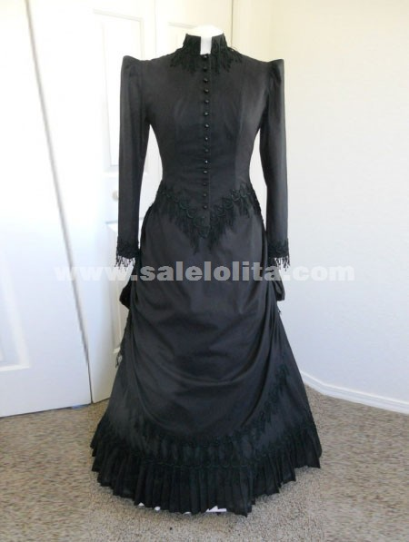 Black Sleeves Cotton Floor-Length Victorian Ball Gown