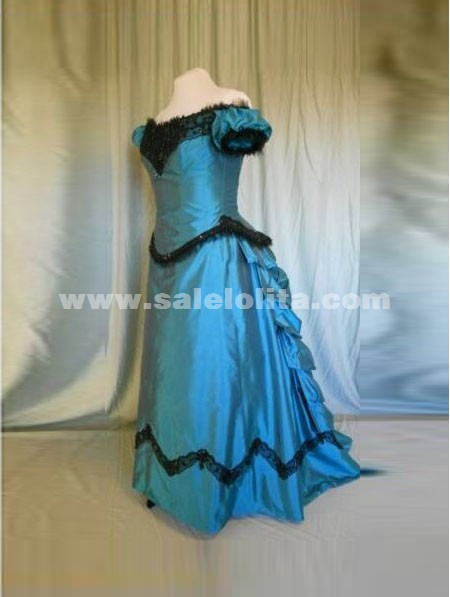 Blue Off the shoulder victorian bustle ball gown