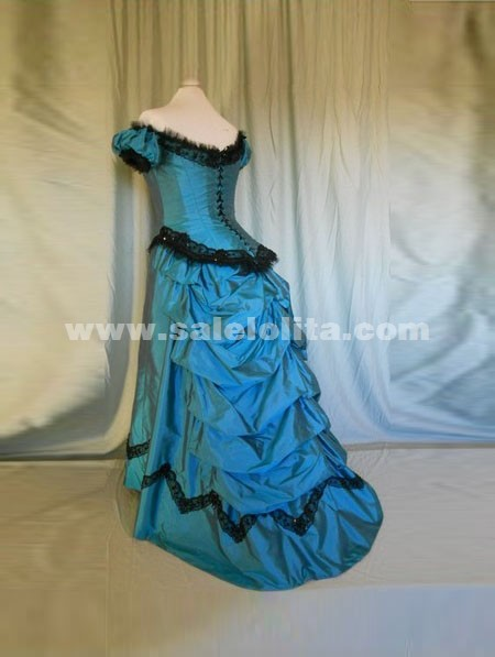 2016 Brand New Blue Elegant Off The Sholder Floor-Length Victorian Bustle Ball Gown