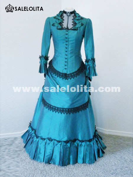 New Arrival Elegant Blue Full Sleeves Victorian Bustle Ball Gown 2016