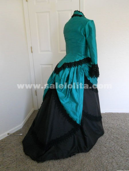 2016 Brand New Green Graceful And Black Full Sleeve Victorian Bustle Ball Gown