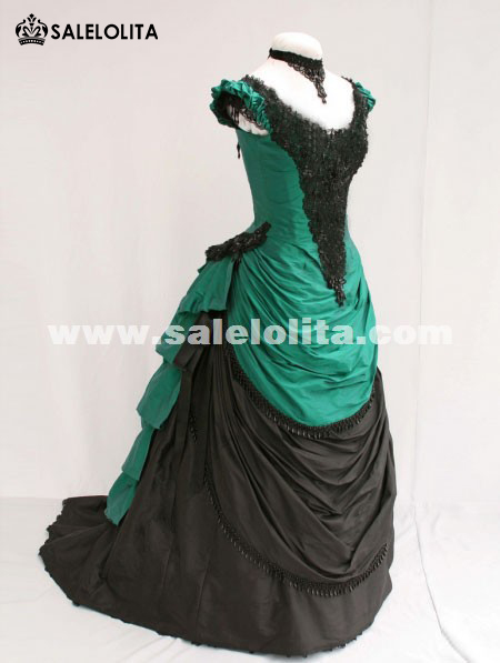 Green And Black Short Sleeves Victorian Bustle Ball Gown 2014