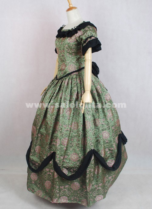 2016 Brand New Elegant Vintage Brown Printed Short Sleeves Victorian Ball Gown Costumes For Women