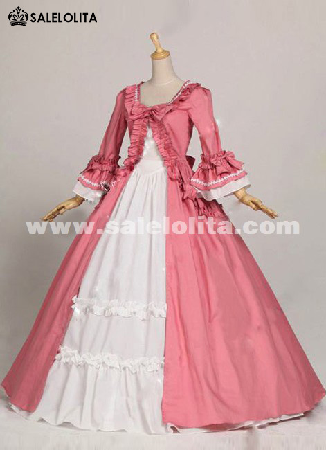 Elegant Vintage Pink Flare Sleeves Bow Renaissance Gothic Victorian Ball Gowns Prom Party Dresses For Women Loading