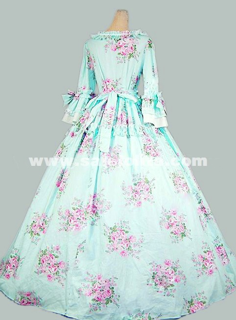 2016 Brand New Elegant Green And White Floral Print Medieval Renaissance Gothic Victorian Ball Gowns 17th 18th Civil War Victorian Dress