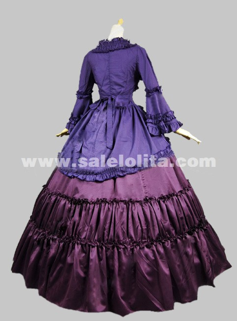 2016 Elegant Purple And Blue Long Sleeves 17th 18th Medieval Gothic Victorian Dress