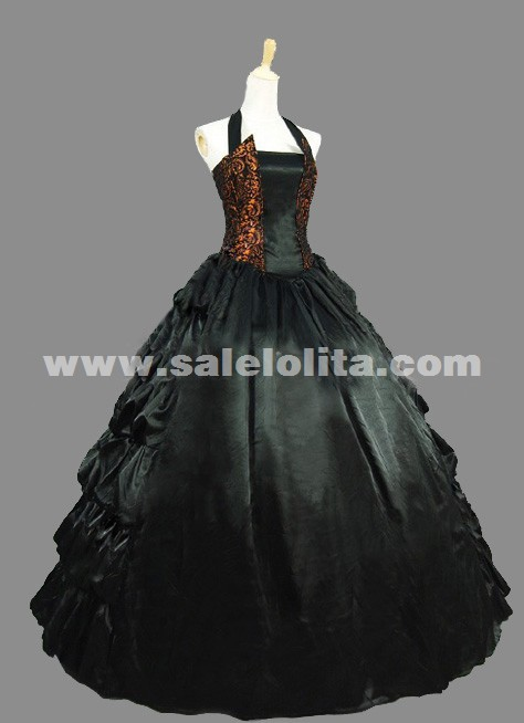 Elegant Vintage Brown And Black Spaghetti Strap Renaissance Civil War Gothic Victorian Ball Gowns Dress