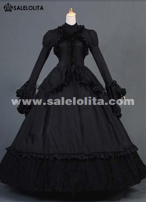 2016 Elegant Vintage Black Long Flare Sleeve Lace Renaissance Dress Women's Gothic Victorian Ball Gown For Halloween