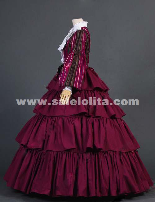 2016 Elegant Dark Purple Long Sleeves Ruffles Retro Gothic Victorian Dress Renaissance Ball Gowns Dress For Women