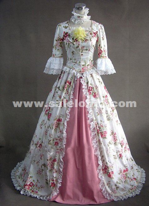 New Noble Vintage Floral Printed Lace Gothic Victorian Dresses Civil War Southern Belle Ball Gowns