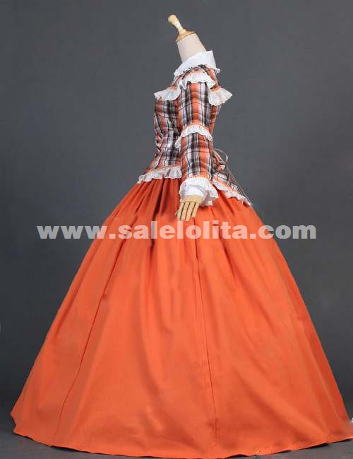 2018 Noble Orange And Black Grid Long Sleeve Lace Gothic Lolita Victorian Dress