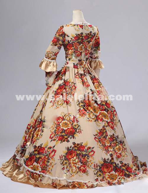 2016 Noble Classic Yellow Floral Long Sleeve Bow Lace Renaissance Gothic Victorian Ball Gowns