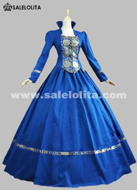 2016 Elegant Blue Long Sleeve Stand Collar Medieval Gothic Victorian Dress