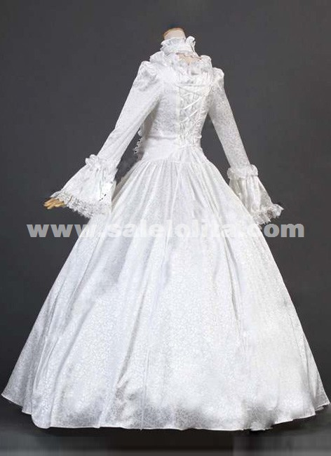 2019 Noble White Long Flare Sleeve Lace Renaissance Civil War Victorian Ball Gown Womens Party Dress Costumes