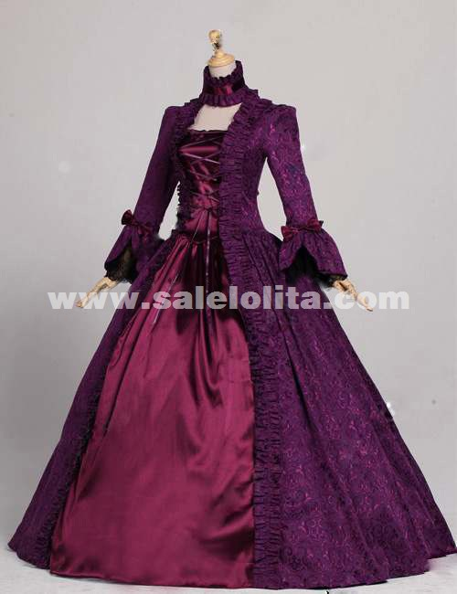 2015 Noble Purple And Dark Red Vintage Long Sleeve Gothic Victorian Dress Renaissance Ball Gowns