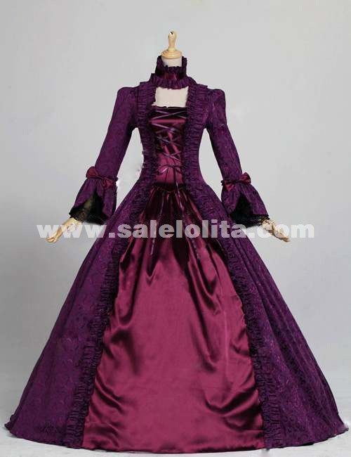 7e3347eef131 2019 Noble Purple And Dark Red Vintage Long Sleeve Gothic Victorian Dress  Renaissance Victorian Ball Gowns. Loading