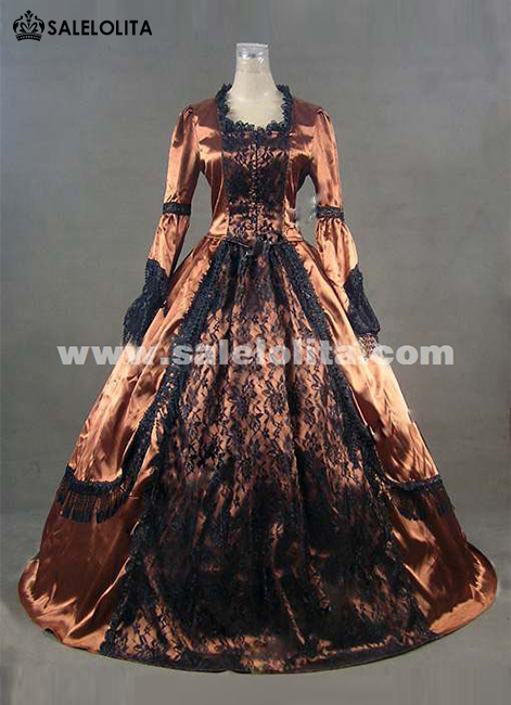 2016 Noble Gold Long Sleeve Lace Gothic Civil War Victorian Ball Gown Renaissance Victorian Dress