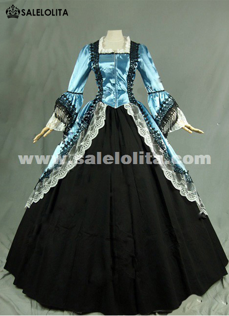 2016 Noble Blue And Black Long Sleeve Lace Medieval Gothic Victorian Ball Civil War Victorian Dress For Women