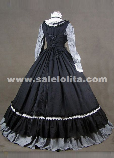 2015 Noble Vintage Black And Gray Long Sleeve Ruffles Renaissance Gothic Victorian Ball Gowns For Party